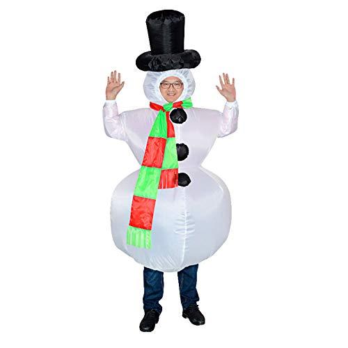Disfraz Inflable de muñeco de Nieve de Navidad Disfraz de Disfraces Disfraz de Halloween Divertido Disfraz de muñeco de Nieve Ropa de Adulto (150-195 cm)