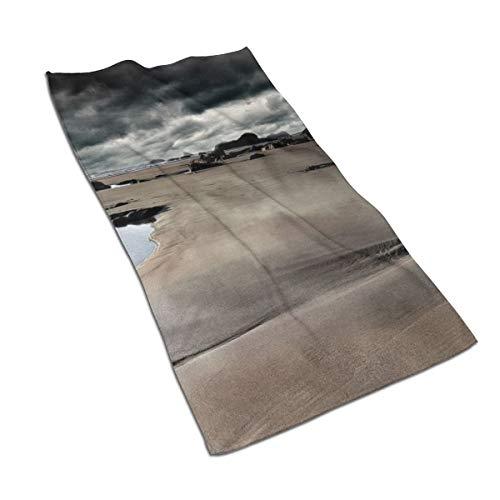 N/A - Juego de toallas de baño de algodón egipcio con impresión de acuarela, ultra absorbente, para viajes, deportes, nubes, paisajes, playa, rocas, fotografía, 27.5 x 15.7 pulgadas