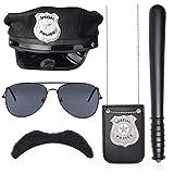 Beelittle 5 pièces Ensemble d'accessoires de Costume de Police Chapeau de Policier bâton Lunettes de Soleil Badge Moustache détective Flic Swat Accessoires de Jeu de rôle