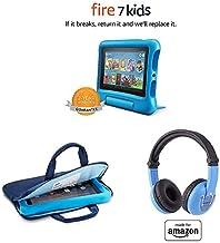 "Fire 7 Kids Tablet, 7"" Display (16 GB, Blue) + Zipper Sleeve (Blue) + Blue PlayTime Bluetooth Headset"