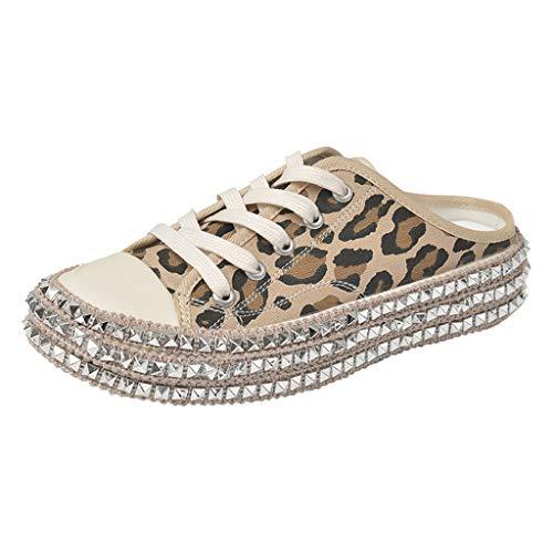 LuckyGirls Zapatillas de Leopardo para Mujer Remaches con Cordones Zapatos Casuales de Mujer de Moda