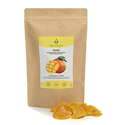 Mango getrocknet (500g), getrocknete Mangostreifen, vegan, wiederverschließbar verpackt