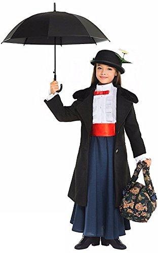 Fancy Me 6- teiliges Deluxe Italienische Herstellung Mädchen Viktorianisch Nanny + Tasche & Regenschirm büchertag Woche Halloween Karneval Kostüm Kleid Outfit 3-10 Jahre - 5 Years
