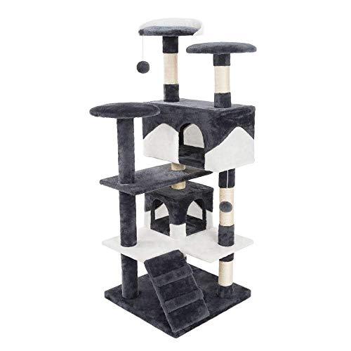 JAMAXX - Albero tiragraffi per gatti, 130 cm/H, in peluche extra morbido, con grotte, palline da gioco e molte piattaforme, PCT3001 (grigio-bianco)