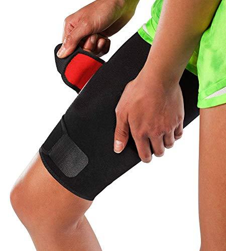 DYHQQ Soporte Ajustable para Muslos, Soporte para esguinces de cuádriceps del Muslo, tendinitis, distensiones, rehabilitación y recuperación de Lesiones musculares tiradas