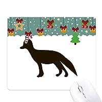 ブラックフォックスかわいい動物の描写 ゲーム用スライドゴムのマウスパッドクリスマス