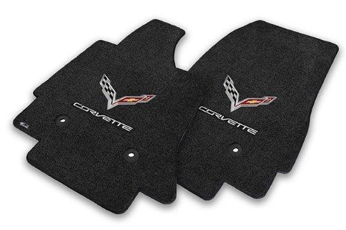 Fits 2014-2018 C7 Corvette Jet Black Floor Mats - Crossed Flags & Corvette Script