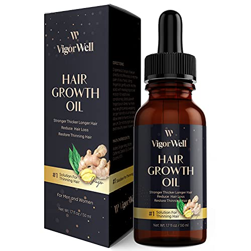 Hair Growth Oil Natural with Caffeine, Biotin and Castor - Hair Growth Oil for Stronger, Thicker, Longer Hair 1.7 oz (Ginger)