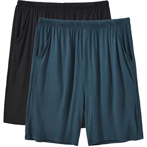 MoFiz Pantaloni Corti Pigiama Uomo Modal Pantaloncini Morbidi Shorts con Tasche 2 Pezzi Blu/Nero XXL