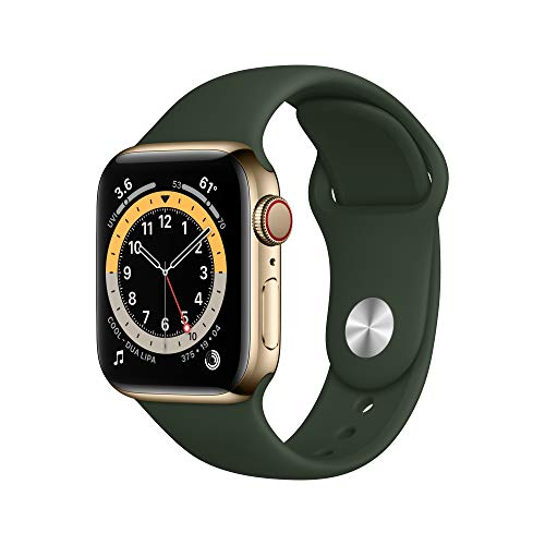 New Apple Watch Series 6 (GPS + Cellular, 40mm) - Gold Stainless Steel Case with Cyprus Green Sport Band