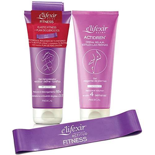 Elifexir | Fitness + Actidren + Banda Elástica | Gel Remoldeador + Relajante Piernas | Crema Reafirmante | Kit Perfecto para Potenciar los Resultados del Ejercicio - 200 ml + 200 ml