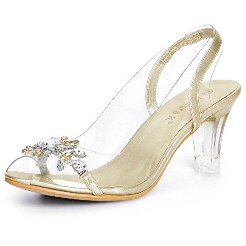 Allegra K Women's Flower Rhinestone Peep Toe Heels Gold Sandals - 9.5 M US