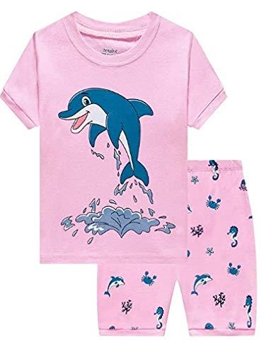 AmzBarley Dolphin Algodão Pijamas Roupas de verão Conjuntos de pijama com mangas curtas de duas peças para crianças rosa por 5 a 6 anos