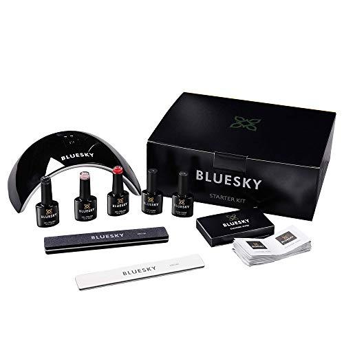 BLUESKY UV/Gel-Starter-Set mit LED-Lampe, Reinigungstücher, Feile und Puffer, Überlack, Unterlack und den Bestseller Farben Pink Musk, Blackpool und Pillar Box Red