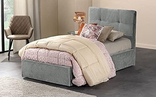 Dafne Italian Design - Cama individual con canapé, efecto terciopelo gris oscuro, dimensiones: 90 x 205 x 110 cm.
