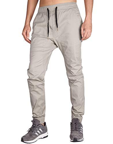 ITALY MORN Pantalón para Hombre Casual Chino Jogging Algodón (XS, Gris Claro)