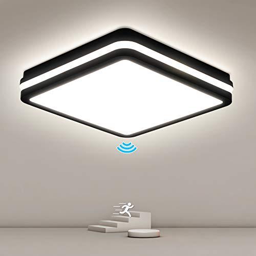 24W LED Deckenleuchte mit Bewegungsmelder, OPPEARL 2400LM LED Deckenlampe mit Bewegungssensor, IP54 Wasserfest Sensorlampe für Flur, Badezimmer, Keller, Diele, Garage, Lager, 4000K