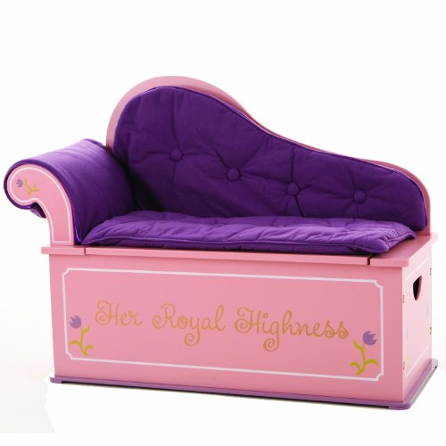 Wildkin Kids Princess Fainting Couch with Storage, Toy Box Bench Seat Features Safety Hinge, Two Carrying Handles, and Removable Back, Arm, and Seat Cushions, Measures 32 x 15.5 x 27 Inches