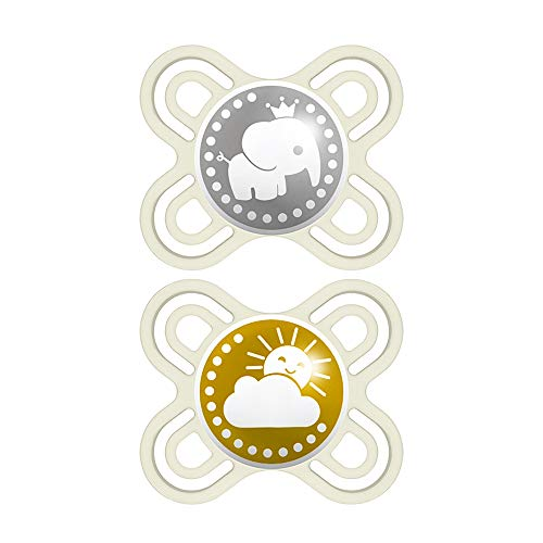 MAM Perfect Start Pacifiers, Orthodontic Pacifiers (2 pack, 1 Sterilizing Pacifier Case) MAM Newborn Pacifiers, Unisex Baby Pacifiers, Designs May Vary