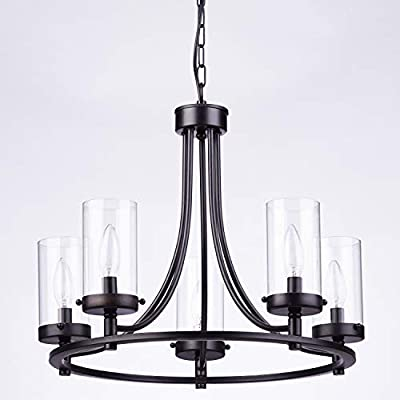 Loclgpm Black Metal Chandelier, Industrial Vintage 5 Lights Candle Ceiling Lighting Fixture Semi Flush Mount Pendant Light with Glass Shade for Kitchen Island Living Room Dining Room Hallway Foyer