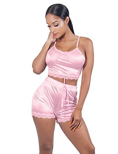 VWIWV Women Sleeveless Lace Crop Top Camisole and Shorts Pajamas Sleepwear Set, Pink, Size 4 - 6