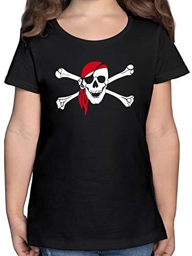 Bunt gemischt Kinder - Totenkopf Pirat Kopftuch - 128 (7/8 Jahre) - Schwarz - Piraten Shirt 128 - F131K - Mädchen Kinder T-Shirt