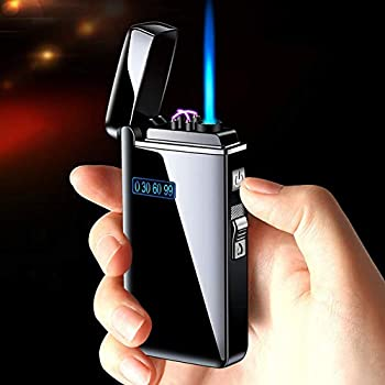 Dual Arc Lighter Jet Flame Torch Turbo USB Lighter,Windproof Metal LED Lighters,2 in 1 Rechargeable Flameless Lighter,Electric Plasma Lighter with LED Display,for Candles,Fireworks  Black