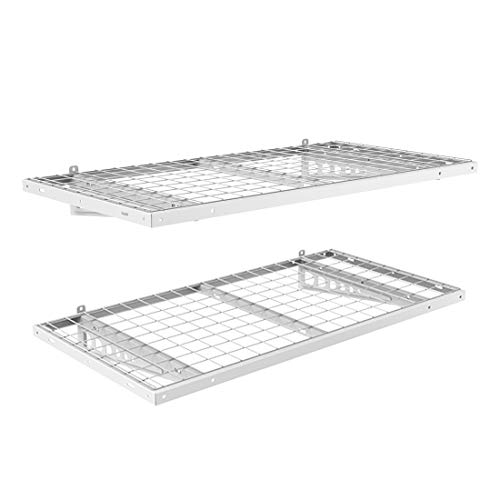 FLEXIMOUNTS 2-Pack 2x4ft 24-inch-by-48-inch Wall Shelf Garage Storage Rack Floating Shelves Bike Racks, White