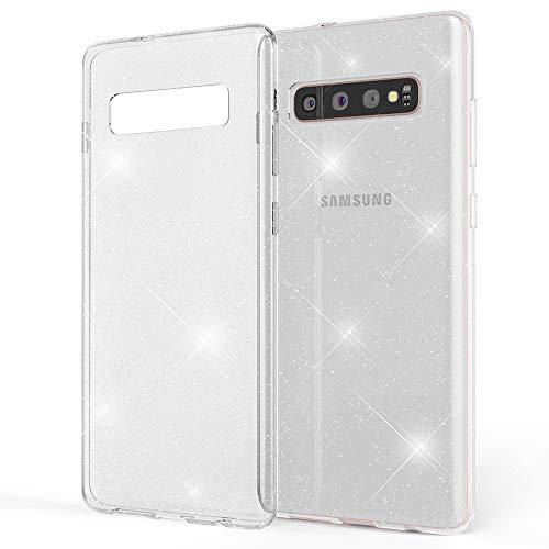 NALIA Glitter Hülle kompatibel mit Samsung Galaxy S10 Plus, Glitzer Handyhülle Ultra-Slim Silikon Hülle Cover Schutzhülle, Bling Handy-Tasche Bumper, Dünnes Strass Phone Backcover, Farbe:Transparent