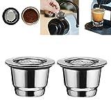 Wffo Filtro de café de Acero Inoxidable, 2 Piezas, Reutilizable, Cápsula de café para Nespresso, Compatible con Mr. Coffee Makers y Brewers