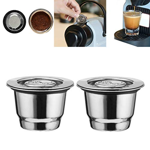 Wffo Filtro de café de Acero Inoxidable, 2 Piezas, Reutilizable, Cápsula de café para Nespresso, Compatible con Mr. Coffee Makers y Brewers