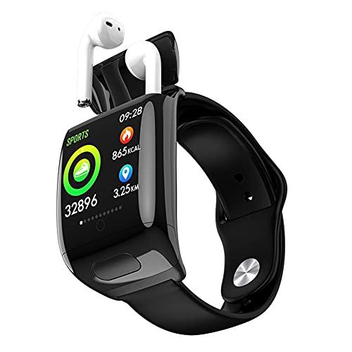 Smart Watch Auricular Bluetooth Hombres Mujeres Smart Watch BT Llamada Escucha Tarifa Presión Arterial para Pulsera (Color : Black)