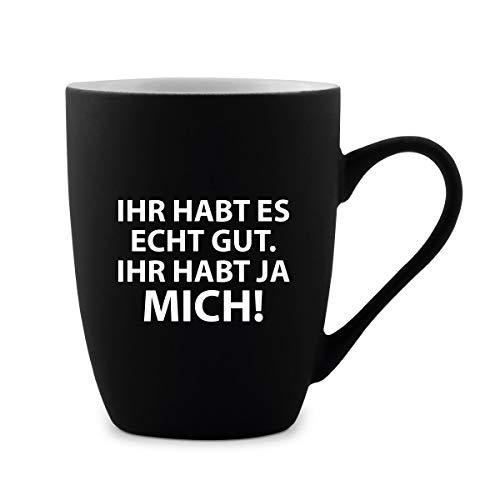 KIXY Tasse 300 ml Keramik gummiert Schwarz Witziges Lustiges Geschenk - Ihr habt mich