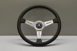 Nardi Steering Wheel - Classic - 360mm (14.17 inches) - Black Leather with Grey Stitching - Polished Spokes - Part # 6061.36.3001