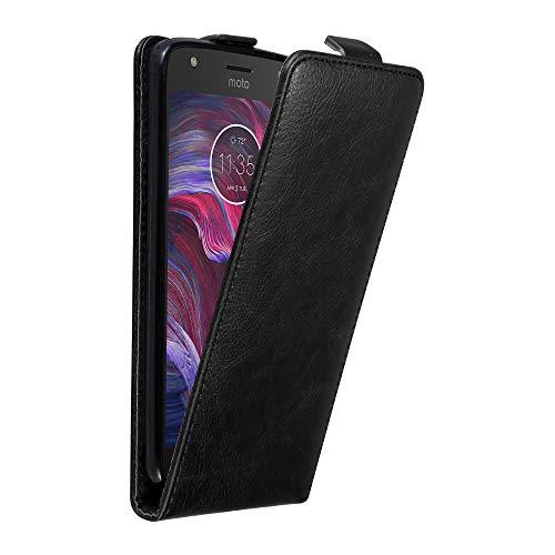 Cadorabo Hülle für Motorola Moto X4 in Nacht SCHWARZ - Handyhülle im Flip Design mit Magnetverschluss - Case Cover Schutzhülle Etui Tasche Book Klapp Style