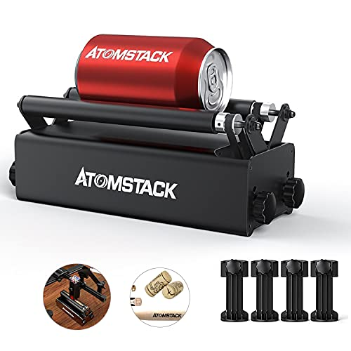 ATOMSTACK R3 Roller, Aluminum Y-axis Rotary Roller Engraving Module, 360° Rotating Axis for Engraving Different Size Cylindrical Objects Cans, Compatible with 95% Desktop Laser Engravers on The Market