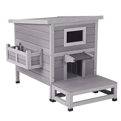 Aivituvin Cat House Outdoor Kitty Shelter Indoor Cat Condo Waterproof with Escape Door, Flower Box &...