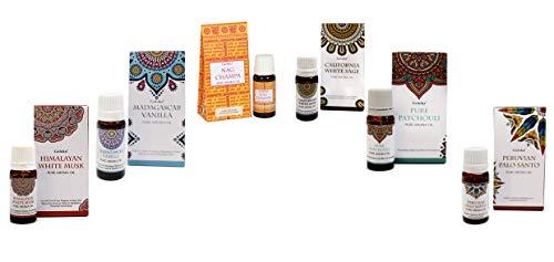 6 Aceites esenciales Goloka (esencias de HIMALAYAN WHITE MUSK, VAINILLA,