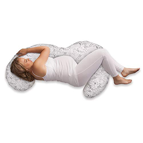 Boppy Total Body Pregnancy Pillow with Removable, Breathable Pillow Cover | Plush Full-body Support | Prenatal and Postnatal Positioning | White with Gray Leaves