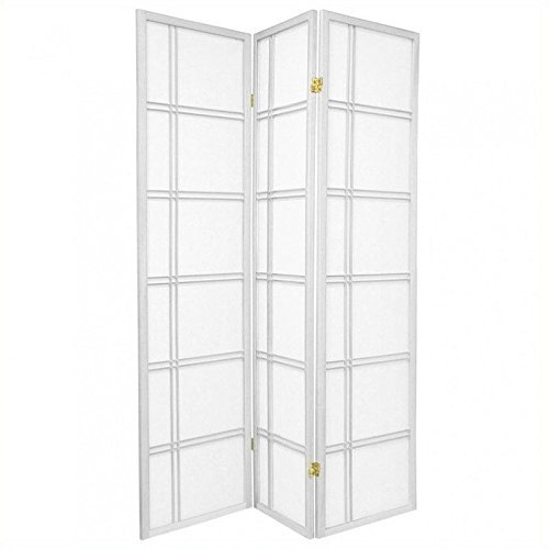 Oriental Furniture 6 ft. Tall Double Cross Shoji Screen - White - 3 Panels