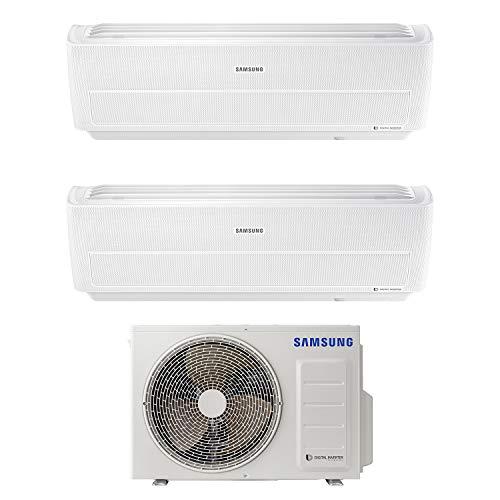 Samsung Clima AR09NXWXBWKNEU+AR09NXWXBWKNEU+AJ040NCJ2EG/EU WindFree Dual Split Climatizzatore, Wi-Fi, A+++/A+, 9000+12000 BTU