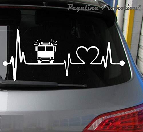 Pegatina Promotion Herzschlag Feuerwehr Auto Hobby Aufkleber, ca.20 cm breite Hobbys Auto Autoaufkleber Sticker Heckscheibe Lack Vinyl Sport Sportaufkleber Auto-Aufkleber Aufkleber mit Verklebehilfe