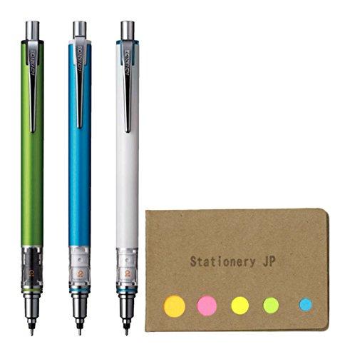 Uni Kuru Toga Advance Auto Lead Rotation Mechanical Pencil 0.5 mm, Body Color(Lime Green/Blue/White), 3-Pack, Sticky Notes Value Set