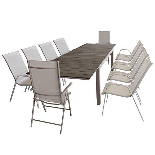 Wohaga Gartenmöbel-Set ausziehbarer Aluminium Gartentisch mit Polywood Tischplatta 160/210/260x95cm + 8X Stapelstuhl mit Textilenbespannung + 2X Alu Hochlehner mit 7fach Verstellbarer Rückenlehne