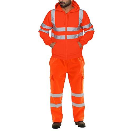 clacce Herren Zweiteilig Hohe Sichtbarkeit Erwachsenen Regenjacke Arbeit Regenanzug Wasserdicht Atmungsaktiv Reflektierend Sicherheitsjacke Warnschutz Regenbekleidung