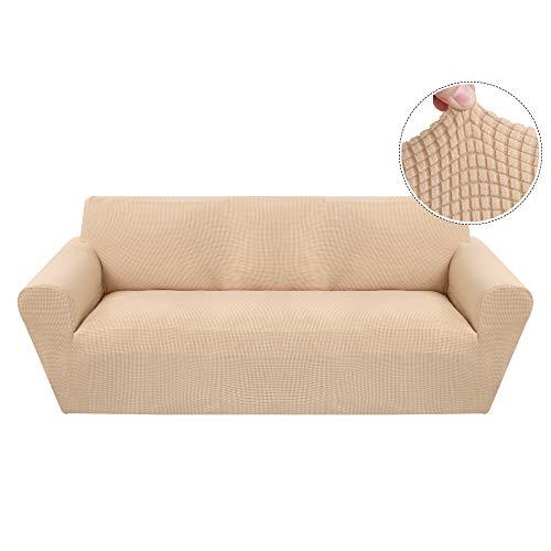 Funda de Sofá Elástica de 3 Plazas de Punto,Tejido Jacquard de Poliéster y Cubre Sofa Universal Cubierta de Muebles Elegante y Duradera,Desmontable y Lavable,Funda Protector para Sofa Sillón Beige
