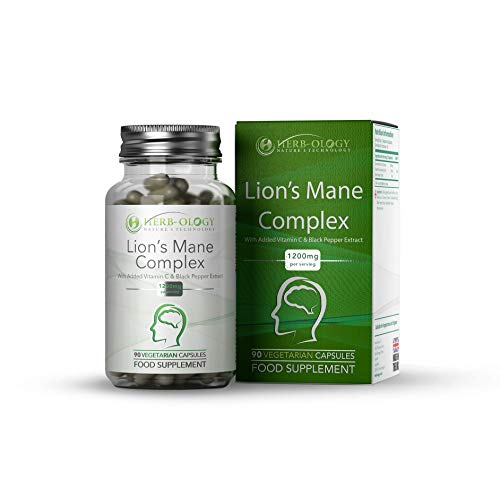 Herb-Ology Lions Mane Mushroom Capsules | Nootropic Mushrooms Supplement | 90 Lion's Mane Capsules, 1200mg Per Serving | with Bioperine Black Pepper & Vitamin C Extract | Non-GMO & Made in The UK