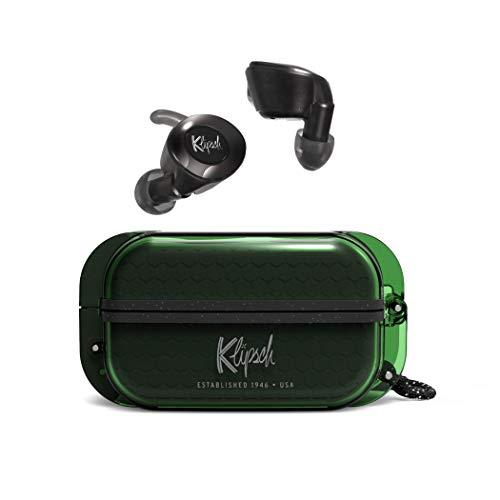 Klipsch T5 II True Wireless Sport Auriculares en color verde con funda resistente al polvo y auriculares, mejor ajuste para los oídos, 32 horas de duración de la batería y funda de carga inalámbrica