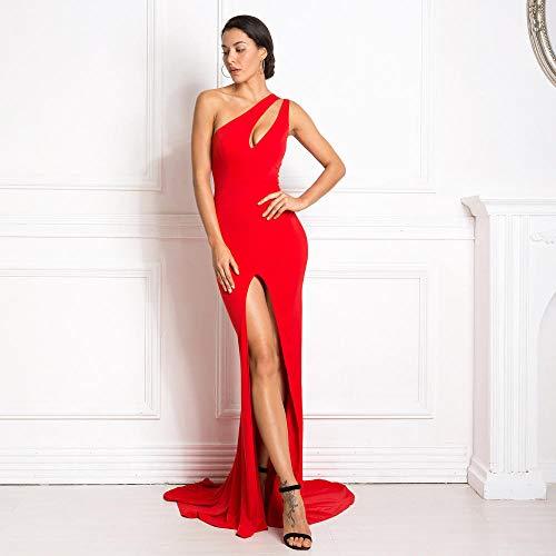 Kleider One Shoulder Kleid aushöhlen Partykleid Stretch Split Front Bodycon rückenfreies Bodenkleid-rot_M