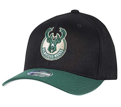 Mitchell & Ness Milwaukee Bucks INTL285 2 Tone 110 Curved NBA Flexfit Snapback Cap One Size